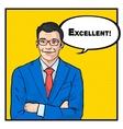 excellent businessman success concept retro style vector image