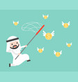 arab businessman use net for catching flying gold vector image