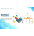 automated processing website landing page vector image vector image