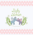 baby shower card with cute elephants couple vector image vector image
