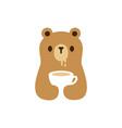 bear cub drink cup logo icon vector image vector image