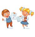 boys and girls showing perfect test results vector image vector image