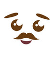 cartoon kawaii face mustache vector image