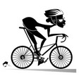 cartoon woman rides a bike isolated vector image vector image