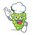 chef green grapes character cartoon vector image vector image