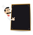 chef menu holding a blackboard showing todays vector image vector image