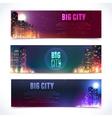 City at night horizontal banners vector image vector image