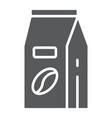 coffee paper bag glyph icon coffee and cafe vector image