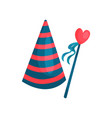 colorful icon of striped cone hat and heart on vector image