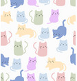 cute cat doodle seamless pattern vector image vector image