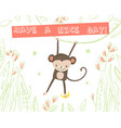 cute monkey with banana and floral elements