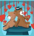 cute teddy bear sitting and relaxing greeting vector image vector image