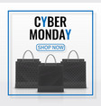 cyber monday sale realistic paper shopping bag vector image vector image