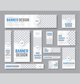 design white banners standard sizes with a vector image vector image
