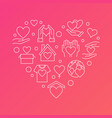 donation outline heart charity modern vector image