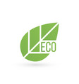 eco product bio organic leaf emblem sticker or vector image vector image