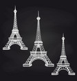 eiffel towers set on chalkboard vector image
