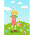 Girl Hunt Easter Egg in Garden vector image vector image