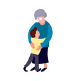 grandmother and grandson hug cartoon flat old vector image