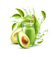 green smoothie in mason jar with splash vector image vector image