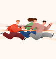 group colorful runners people isolated vector image