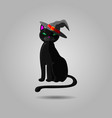 halloween black cat in witch hat animal isolated vector image vector image