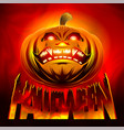halloween pumpkin smiling horror hell fire vector image