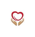hands and heart caring human health logo vector image vector image