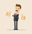 happy businessman shows gesture cool two hands vector image vector image
