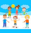 happy cartoon children characters group vector image