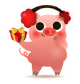 happy chinese new year of pig greeting card vector image vector image