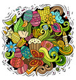 happy easter doodles color vector image