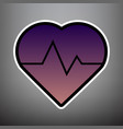heartbeat sign violet vector image vector image