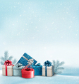 Holiday Christmas background with a border of gift vector image vector image