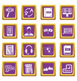learning foreign languages icons set purple vector image vector image