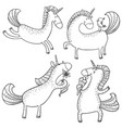 magic unicorns set mistycal doodle horse with vector image vector image