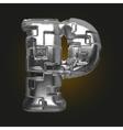 metal figure p vector image vector image