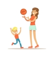 Mom And Son Playing Basketball Loving Mother vector image
