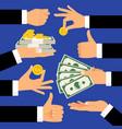 money gestures hands holding dollars vector image vector image