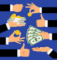 money gestures hands holding money dollars and vector image vector image