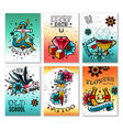 old school tattoo cards set vector image vector image