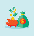 piggy bank with dollar money vector image