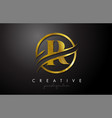 r golden letter logo design with circle swoosh vector image vector image