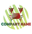 red and green crab logo design on a white vector image vector image