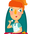 Redhair girl with cup and sweet cake vector image