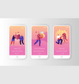 romantic relations and proposal mobile app page vector image vector image