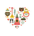russian symbols in heart vector image vector image