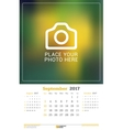 September 2017 Wall Monthly Calendar for 2017 vector image vector image