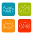Set icons of virtual reality vector image vector image