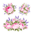 set rose lavender bouquets for your vector image vector image